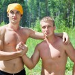 Muscular two young caucasians men — Stock Photo