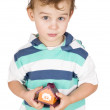 Stock Photo: Little boy holding a toy house