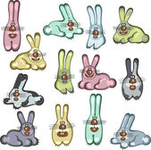 Different cartoon rabbits — Stock Vector