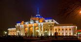 Railway station panorama at night — Stock Photo