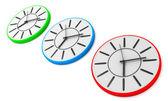 Three wall clocks — Stock Photo