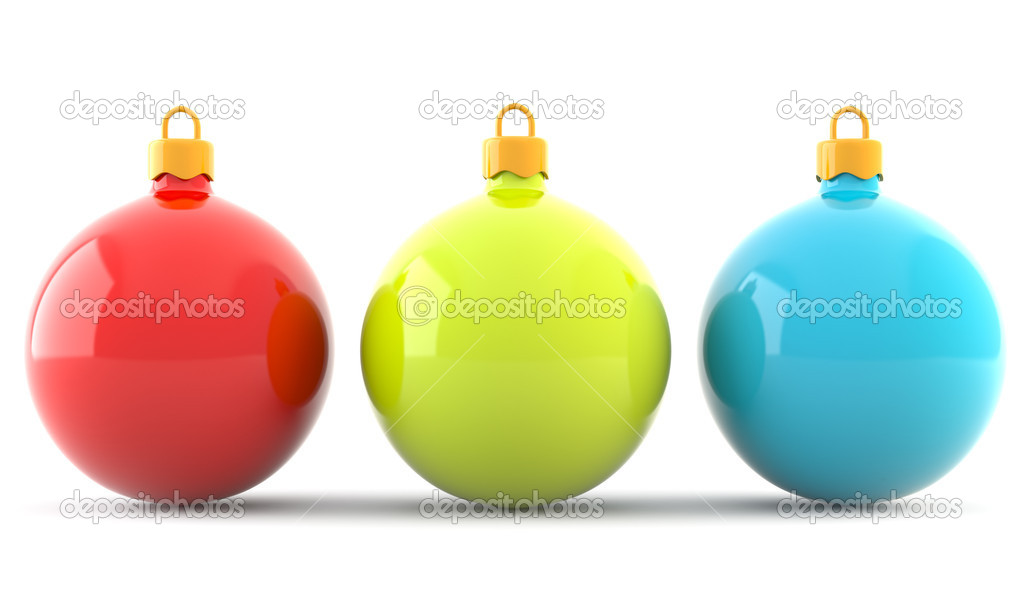 Red, yellow and blue chrismas baubles isolated on white background — Stock Photo #5634794