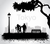 In the Tokyo park. — Stock Vector