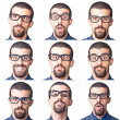 Collection of Young Nerd Portrait on White — Stockfoto