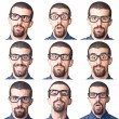 Collection of Young Nerd Portrait on White - Stock Photo
