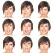 Beautiful Young Woman Collection of Expressions — Stock Photo