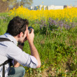 Young Naturalist Photographer at Work — Stock Photo