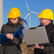 Two Engineers in Wind Turbine Power Generator Station — Stock Photo