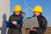 Two Engineers in Wind Turbine Power Generator Station — Stock Photo
