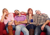 Bored Girls while Man Sleeping on Sofa — Stock Photo