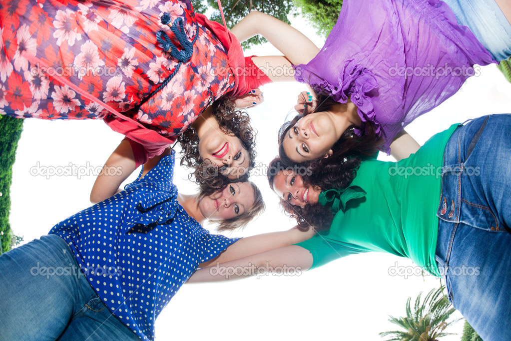 Teenage Female Friends in Circle, Bottom View — Stock Photo #5739522