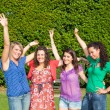 Happy Teenage Girls with Outstretched Arms — Stock Photo #5766964
