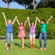 Happy Teenage Girls with Outstretched Arms — Stock Photo #5767196
