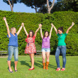 Royalty-Free Stock Photo: Happy Teenage Girls with Outstretched Arms