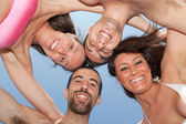 Happy Friends in Circle, Bottom View — Stock Photo