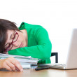 Tired Young Woman Sleeping at Work — Stock Photo