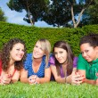 teenage frau friends lying on green park — Stockfoto #5851237