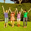 Happy Teenage Girls with Outstretched Arms — Stock Photo #5908742