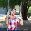 Foto de Stock  : Young Man Having Fun on Swing