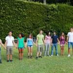 Multiethnic Teenage Group at Park — Stock Photo
