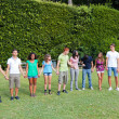Multiethnic Teenage Group at Park — Stock Photo