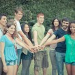 Happy Teenage Group with Hands on Stack — Stock Photo #6067088