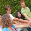 Happy Teenage Group with Hands on Stack — Stock Photo #6067106