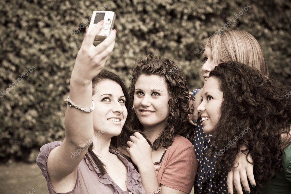 Female Teenagers Taking Self Portrait — Stock Photo #6067622