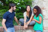 Teenagers Talking at Park — Stock Photo