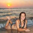 Sexy Girl with Bikini on the Beach at Sunset - Stock Photo