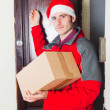 Delivery Boy with Christmas Hat Knock at Door — Stock Photo #6411209