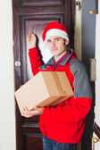 Delivery Boy with Christmas Hat Knock at the Door — Stock Photo
