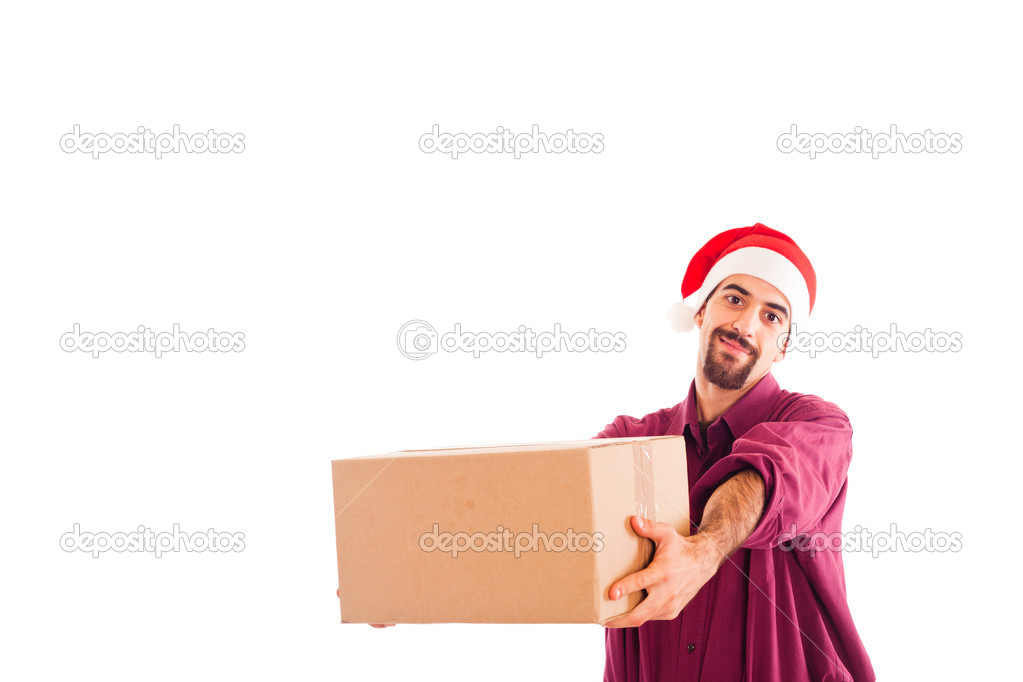 Young Man with Christmas Hat and Empty Box — Stock Photo #6410122