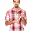 Serious Man Holding a Wrench in the Hands — Stock Photo