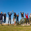 Stock Photo: Group of Happy College Students Jumping at Park