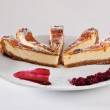 Cheescake Slices with Soft Fruits — Stock Photo