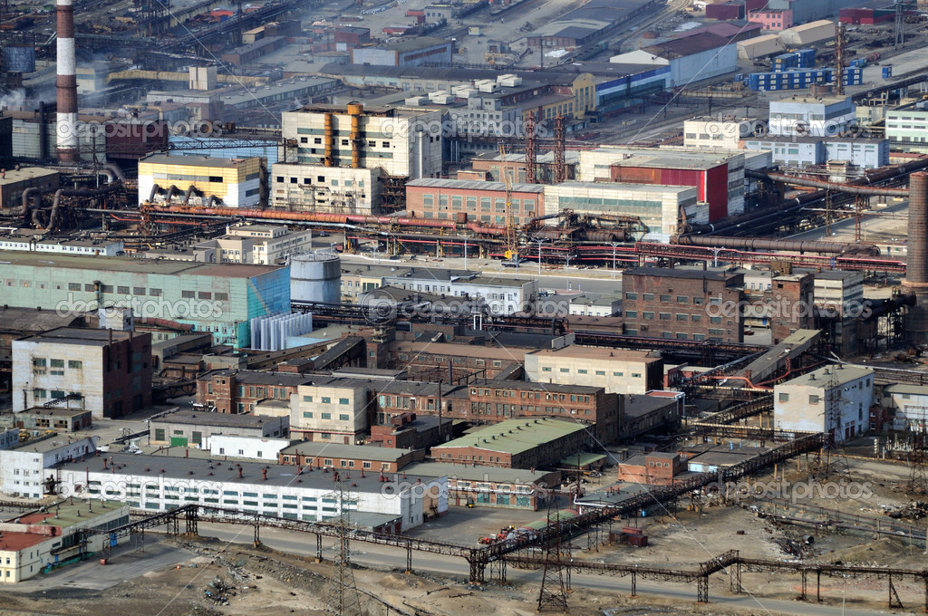 Industrial area, aerial view. Metallurgical factory.  Stock Photo #5707460