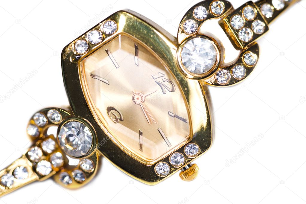 Golden wristwatch with gems isolated over white — Stock Photo #5529997