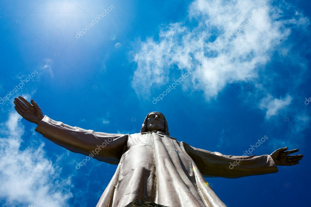 Jesus Christ sculpture on top of Sagrat Corazon chirch on Tibidabo mountain,Barcelona,Spain — Stock Photo #5716573