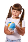 Fille avec globe — Photo
