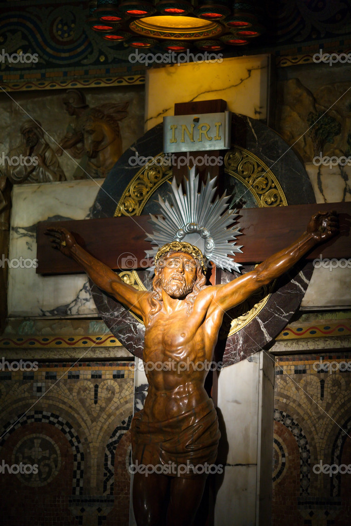 Jesus Christ crucifixion inside Sagrat Corazon church in Barcelona,Spain  Stock Photo #5850618