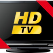 LSD TV with a red ribbon — Stock Vector