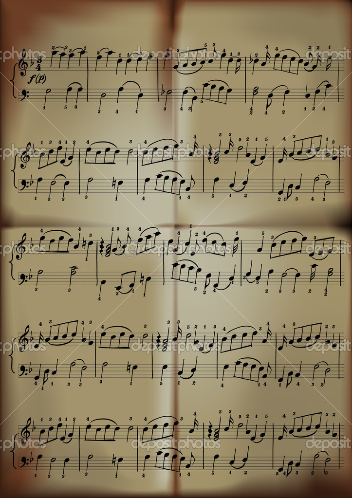 Close-up of sheet music in old paper sepia tone.  Stock Vector #5453356