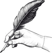 Drawing of hand with a feather pen — Stock vektor