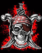 Black Jolly Roger Skull — Vector de stock