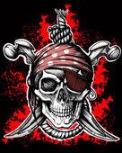 Negro cráneo jolly roger — Vector de stock