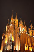 Illuminated cathedral at night — Foto de Stock