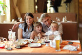 Family at restaurant — Stock Photo