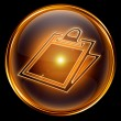 Clipboard icon gold, isolated on black background — Stock Photo