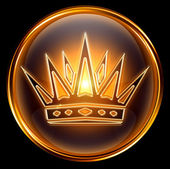 Crown icon gold, isolated on black background — Stock Photo